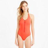 J.Crew Zip-front halter one-piece swimsuit in Italian matte