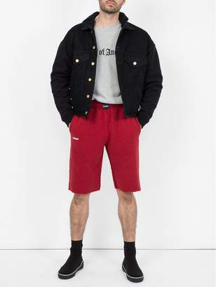 Vetements wide leg sweat shorts red