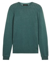 Jaeger Cotton Cable Crew Neck Sweater
