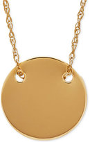 Macy's Polished Disc Pendant Necklace in 10k Gold