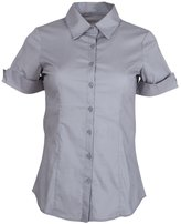 Clothes Effect Ladies Cuffed Short Sleeve Button-Up Dress Shirt