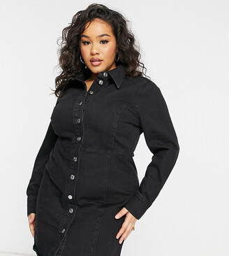 ASOS DESIGN Curve denim fitted shirt dress in black