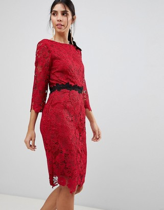 Paper Dolls 3/4 Sleeve Belted Lace Pencil Dress