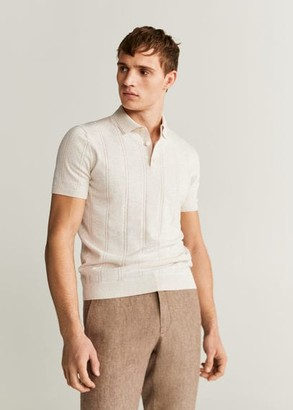 MANGO MAN - Openwork knit cotton polo beige - XL - Men
