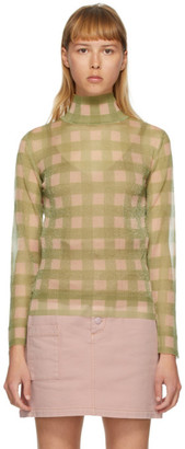 Fendi Pink and Green Check Turtleneck