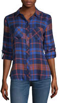 A.N.A Womens Long Sleeve Brushed Twill Button Front Shirt