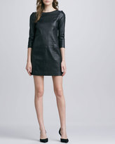 Vince Relaxed 3/4-Sleeve Leather Minidress