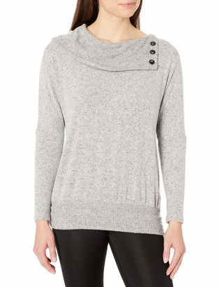 Amy Byer Women's Button Cowl Neck Sweater