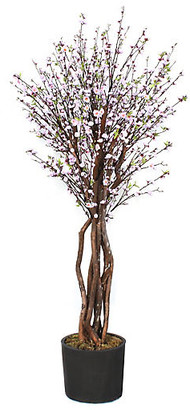 """One Kings Lane 94"""" Pink Blossom Tree with Planter - Faux - tree, pink/brown; vessel, black"""