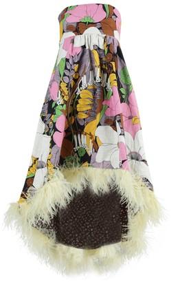 La DoubleJ Multicolored Floral Feather Midi Dress