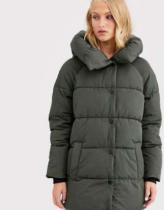 Only oversized long line padded coat-Black