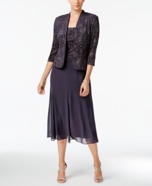 Alex Evenings Sleeveless Jacquard Sparkle Dress and Jacket