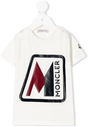 Moncler Enfant logo print side buttoned T-shirt