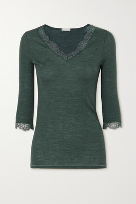 Hanro Woolen Lace-trimmed Ribbed Wool And Silk-blend Top - Dark green