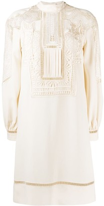Alberta Ferretti Crochet-Panelled Shift Dress