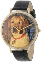 Whimsical Watches Women's N0130081 YellowLabrador Retriever Black Leather And Goldtone Photo Watch