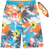 ZeroXposur Zero Xposur Shark Danger Swim Trunks With Goggles - Boys 8-20