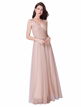 Ever Pretty Ever-Pretty Women's Adjustable Spaghetti Strap Elegant V Neck A Line Tulle Long Evening Dresses Blush 12UK