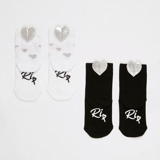 River Island Mini girls Black love heart socks 2 pack