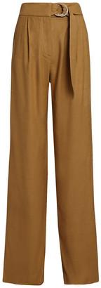 Veronica Beard Woode Belted Wide-Leg Pants