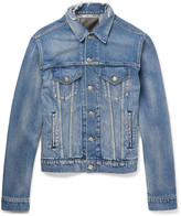 Balenciaga - Trucker Slim-fit Embroidered Distressed Denim Jacket