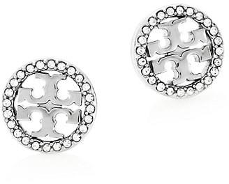 Tory Burch Crystal Logo Silvertone Circle Stud Earrrings