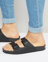 Pull&bear Double Strap Sandals In Black