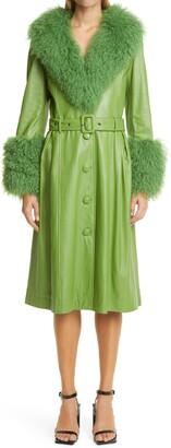 Saks Potts Foxy Genuine Shearling Trim Leather Coat
