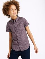 Marks and Spencer Pure Cotton Jacquard Print Shirt (3-16 Years)