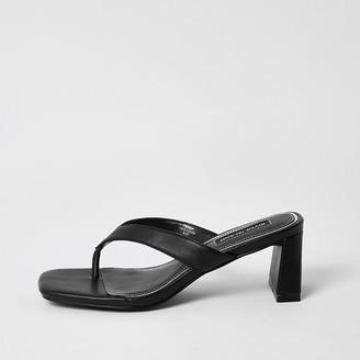 River Island Black toe thong block heel sandals