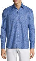 Etro Paisley Dot-Print Sport Shirt, Light Blue