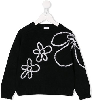 Il Gufo Embroidered Floral Sweatshirt