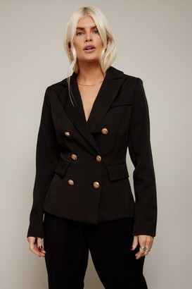 Girls On Film Draper Black Double-Breasted Blazer Co-ord