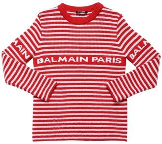 Balmain Logo Jacquard Wool Knit Sweater