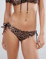 boohoo Leopard Print Lace Up Bikini Brief
