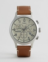 Timex Field Scout Chronograph Leather Watch In Tan