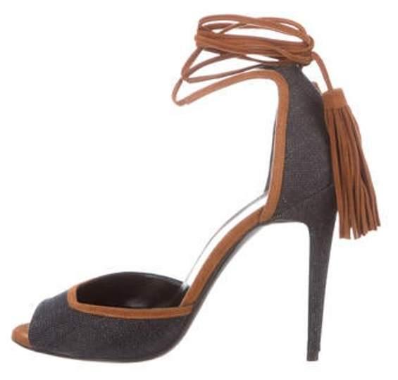 Pierre Hardy Denim Ankle Strap Sandals Navy Denim Ankle Strap Sandals