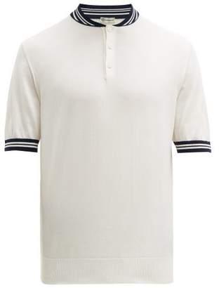 Connolly - Striped Band-collar Cotton-jersey Polo Shirt - Mens - Cream