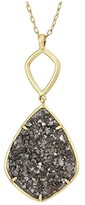 Lucky Brand Reversible and Druzy Diamond Pendant Necklace (Gold) Necklace