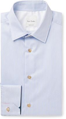 Paul Smith Light-Blue Slim-Fit Pinstriped Cotton-Poplin Shirt