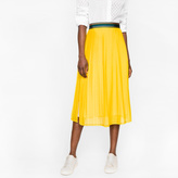 Paul Smith Women's Yellow Silk-Blend Pleated Skirt