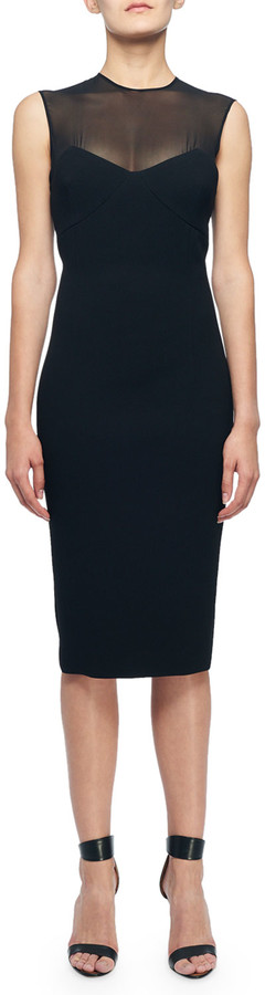 Victoria Beckham Sweetheart Illusion Fitted Dress