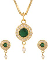 Efulgenz Gold Tone Indian Bollywood Ethnic Green American Diamond Fashion Pendant Necklace with Chain and Earrings Jewellery for Girls / Women