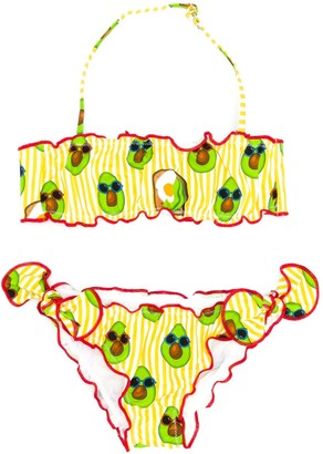 Mc2 Saint Barth Kids Avocado Print Bikini Set