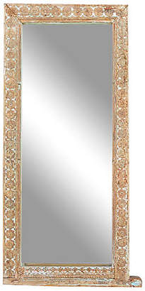 One Kings Lane Vintage 18th C. Himalayan Carved Floral Mirror - de-cor