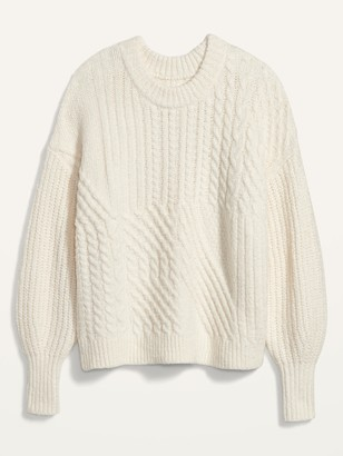 Old Navy Cozy Cable-Knit Blouson-Sleeve Sweater for Women