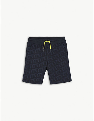 BOSS All-over logo print cotton sweatshorts 4-16 years