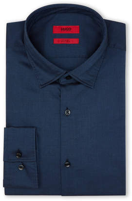 HUGO BOSS Navy Micro Diamond Slim Sport Shirt