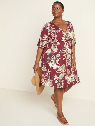 Old Navy Waist-Defined Faux-Wrap Jersey Plus-Size Dress