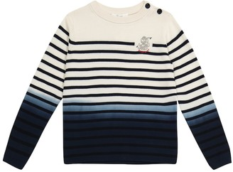 Bonpoint Embroidered striped cotton sweater